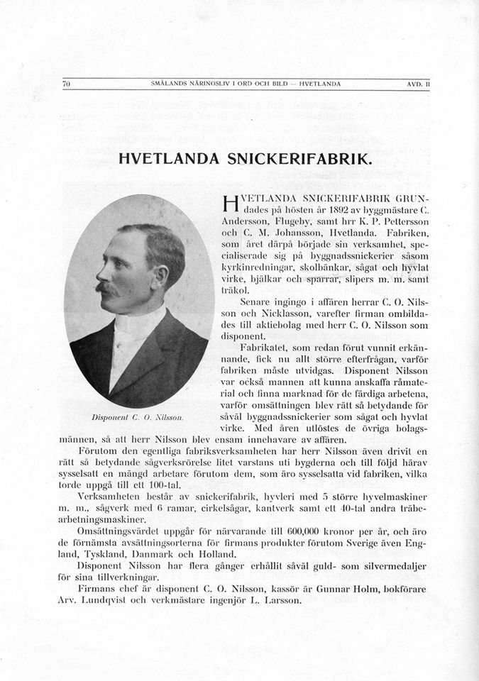 The history of the founder of Hvetlanda Snickerifabrik C O Nilsson (Sollin)